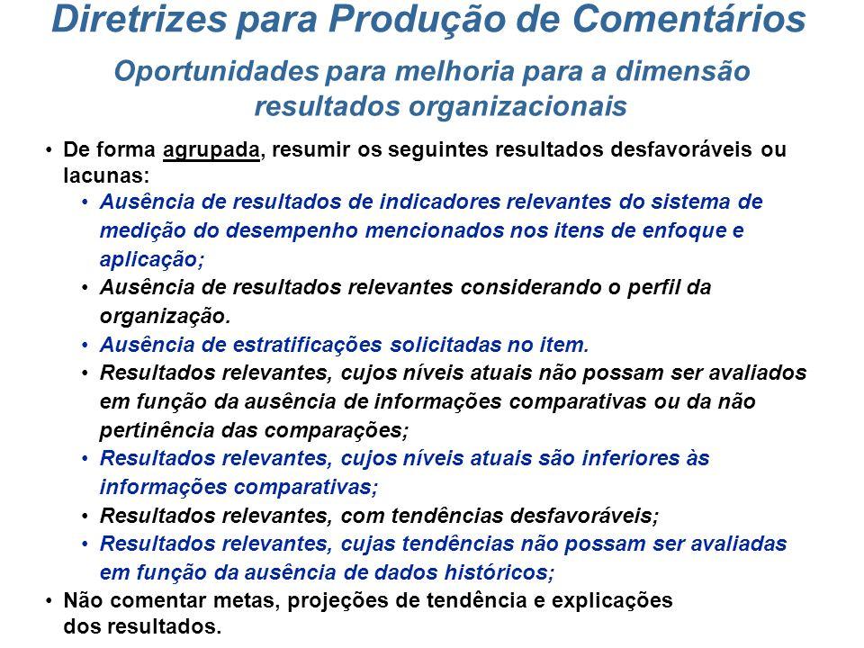 Pontos fortes para a dimensão resultados organizacionais Descrever resumidamente os resultados alcançados (níveis atuais superiores às comparações e/o