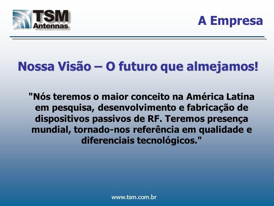 www.tsm.com.br Mercado O Mercado TSM Suprimento do mercado de telecomunicações com antenas e dispositivos passivos de rádio-freqüência com diferenciais tecnológicos e grande valor agregado ao produto.