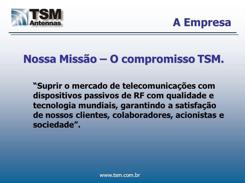 www.tsm.com.br A Empresa Nossa Missão – O compromisso TSM. Suprir o mercado de telecomunicações com dispositivos passivos de RF com qualidade e tecnol
