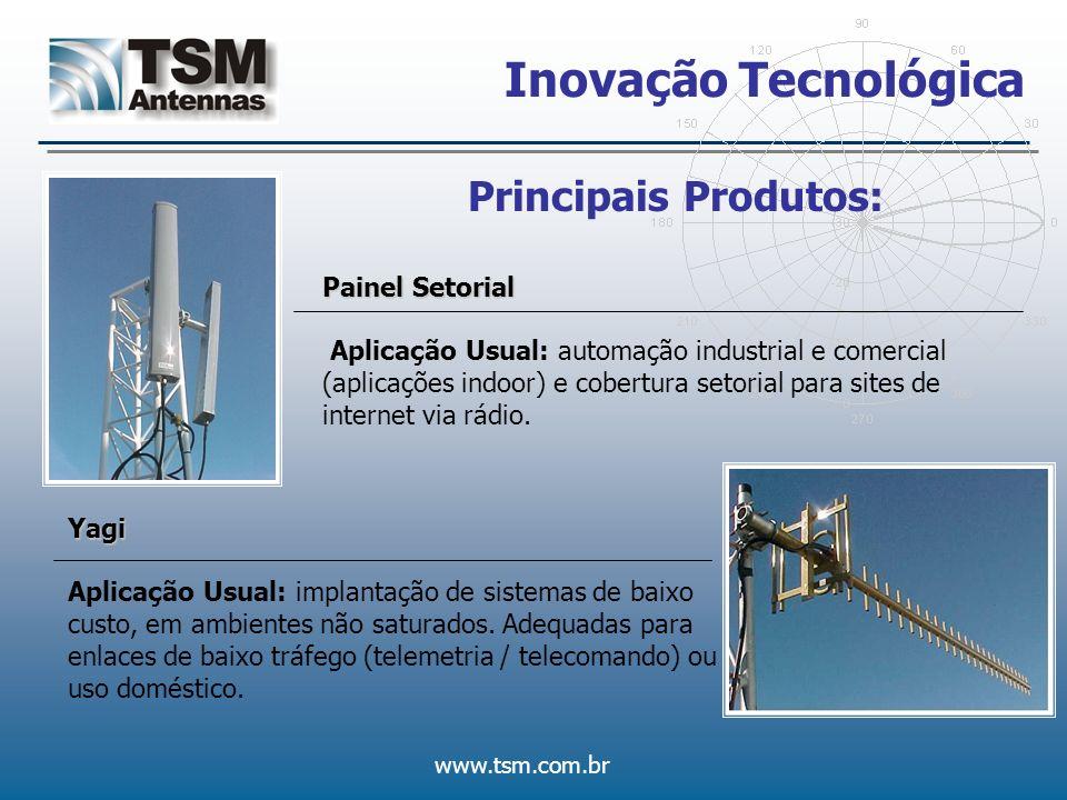 www.tsm.com.br Inovação Tecnológica Parabólicas Vazadas Aplicação Usual: Enlaces de grandes distâncias (acima 70 km).