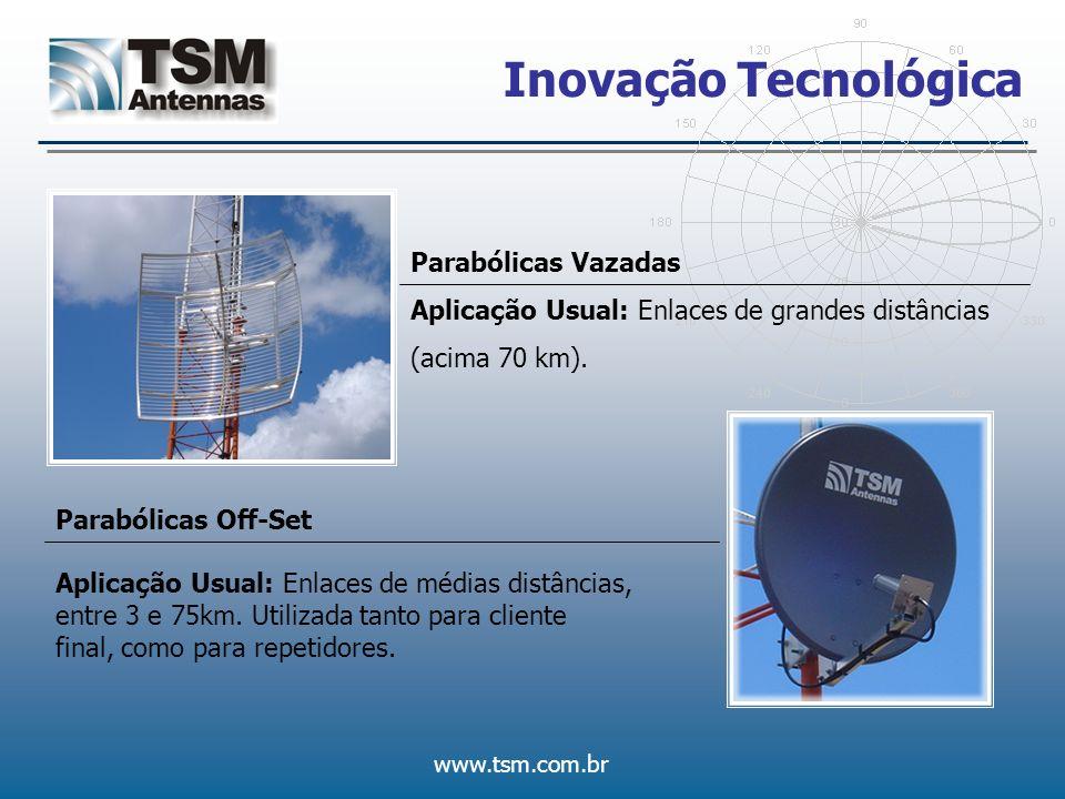 www.tsm.com.br Inovação Tecnológica Parabólicas Vazadas Aplicação Usual: Enlaces de grandes distâncias (acima 70 km). Parabólicas Off-Set Aplicação Us