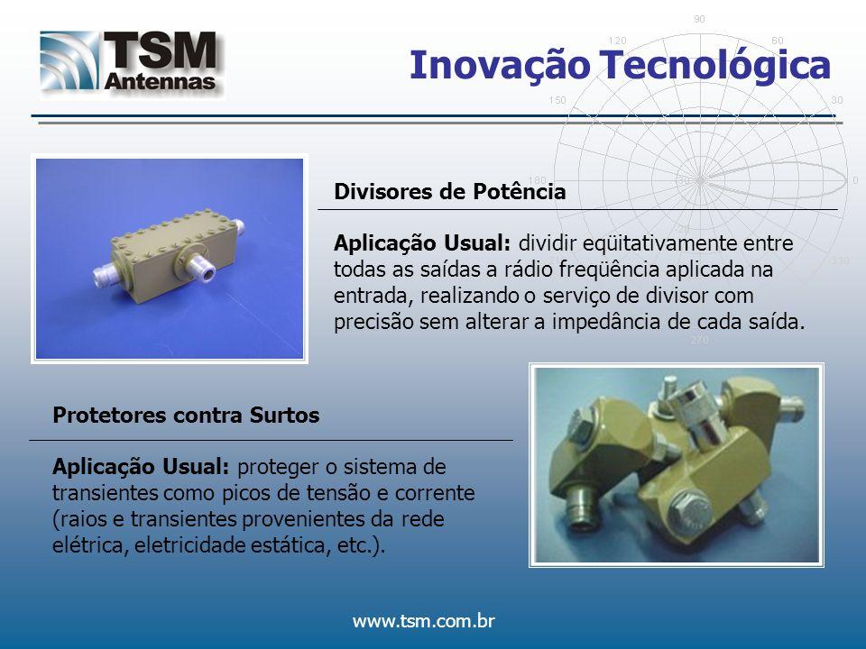 www.tsm.com.br Inovação Tecnológica Divisores de Potência Aplicação Usual: dividir eqüitativamente entre todas as saídas a rádio freqüência aplicada n