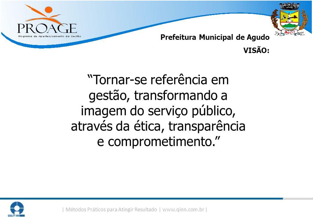   Métodos Práticos para Atingir Resultado   www.qinn.com.br   Prefeitura Municipal de Agudo VISÃO: Tornar-se referência em gestão, transformando a ima