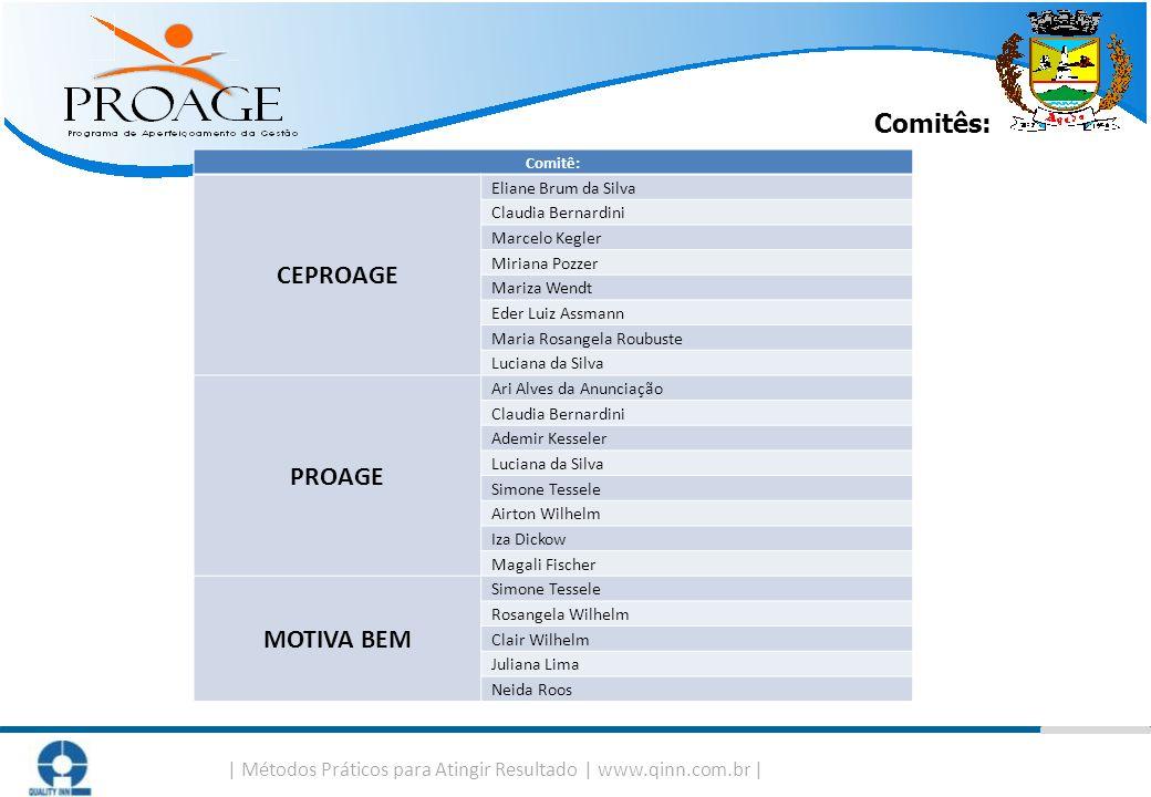   Métodos Práticos para Atingir Resultado   www.qinn.com.br   Comitês: Comitê: CEPROAGE Eliane Brum da Silva Claudia Bernardini Marcelo Kegler Miriana