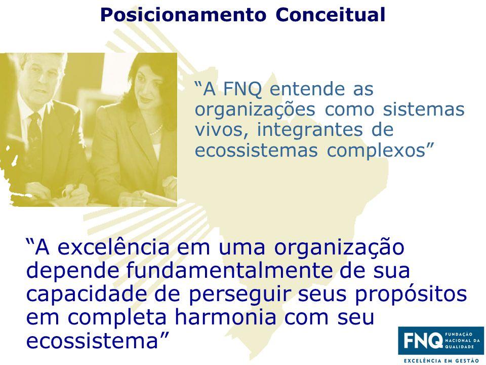 15 Posicionamento Conceitual A FNQ entende as organizações como sistemas vivos, integrantes de ecossistemas complexos A excelência em uma organização