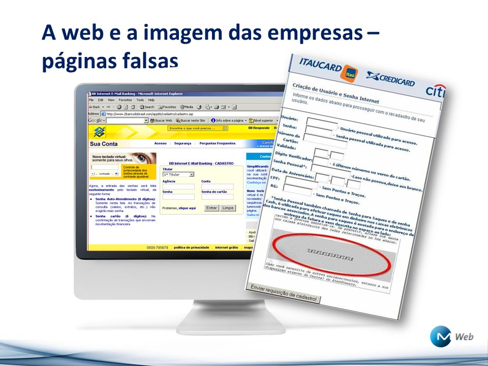A web e a imagem das empresas – páginas falsas