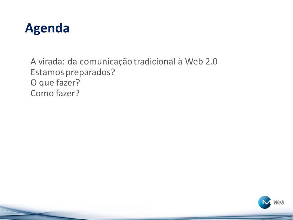 Agenda A virada: da comunicação tradicional à Web 2.0 Estamos preparados? O que fazer? Como fazer?