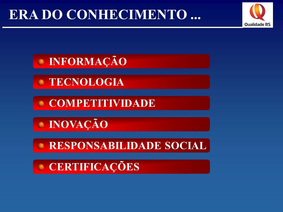ERA DO CONHECIMENTO... INFORMAÇÃO TECNOLOGIA COMPETITIVIDADE INOVAÇÃO RESPONSABILIDADE SOCIAL CERTIFICAÇÕES
