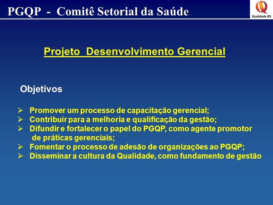 PGQP - Comitê Setorial da Saúde Projeto Desenvolvimento Gerencial Objetivos Promover um processo de capacitação gerencial; Contribuir para a melhoria