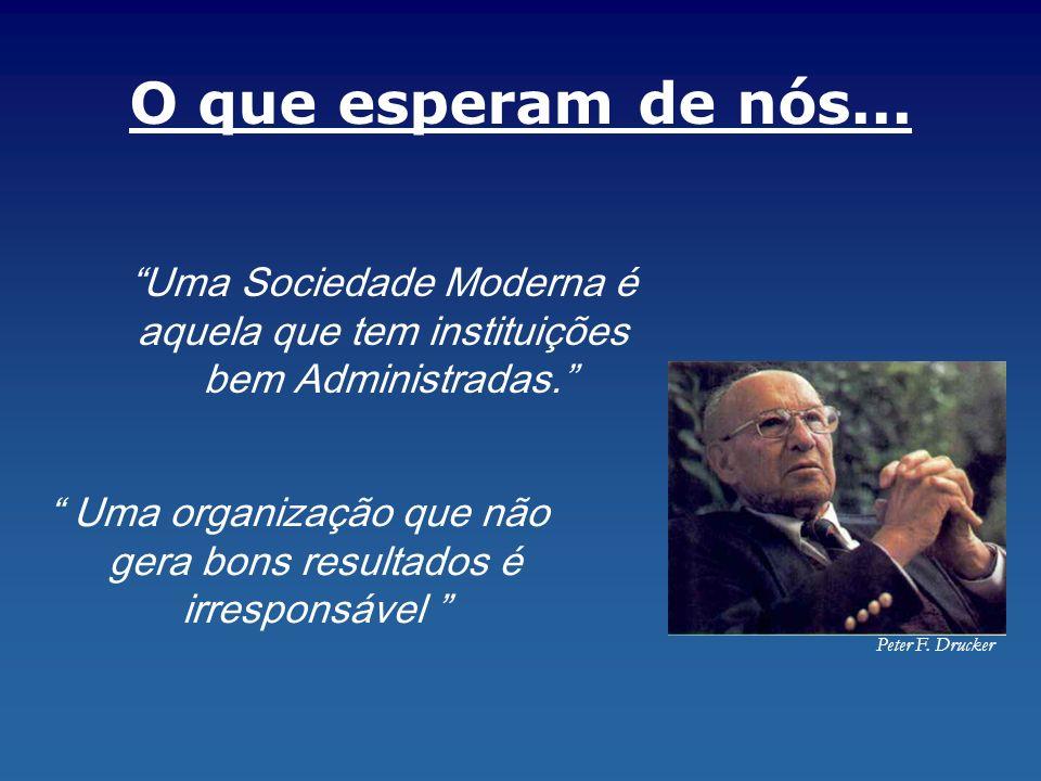 Uma organização que não gera bons resultados é irresponsável Peter F. Drucker Uma Sociedade Moderna é aquela que tem instituições bem Administradas. O