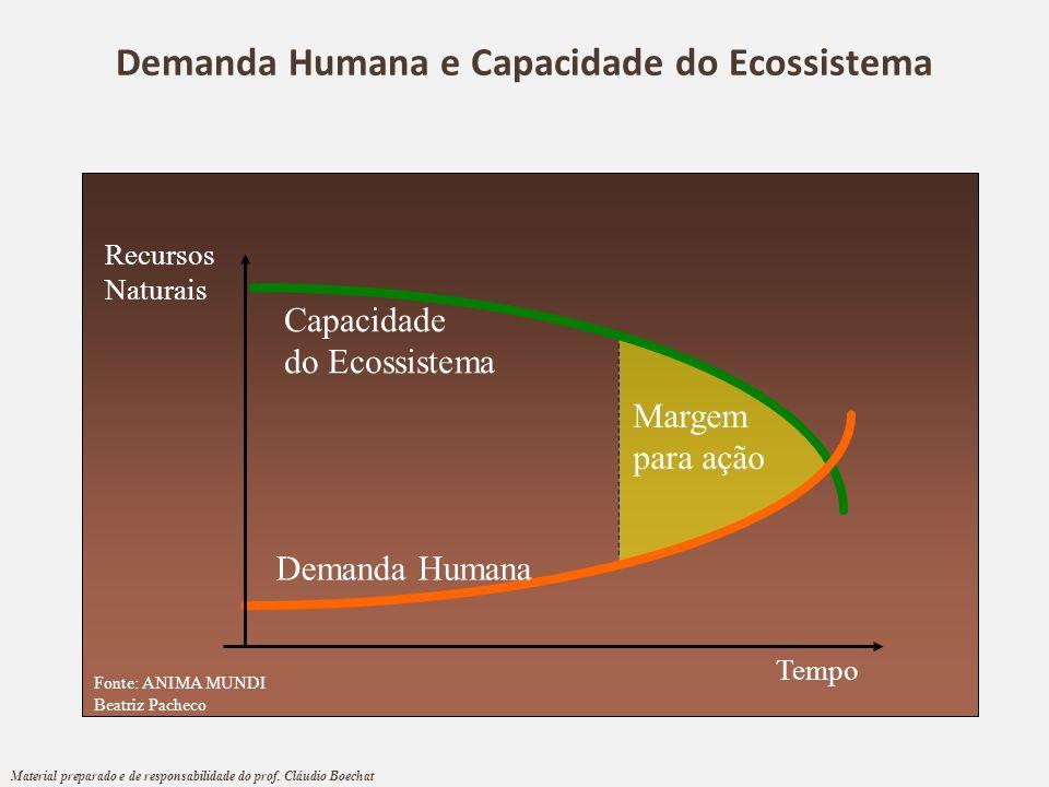 Demanda Humana e Capacidade do Ecossistema Tempo Capacidade do Ecossistema Demanda Humana Recursos Naturais Margem para ação Fonte: ANIMA MUNDI Beatri