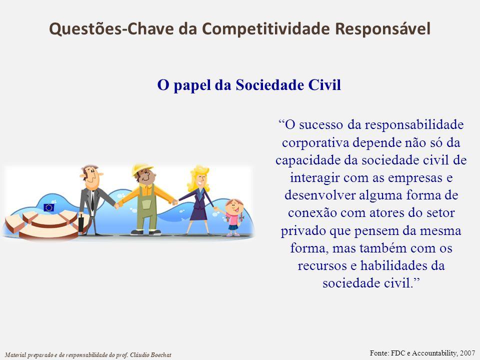 O papel da Sociedade Civil O sucesso da responsabilidade corporativa depende não só da capacidade da sociedade civil de interagir com as empresas e de
