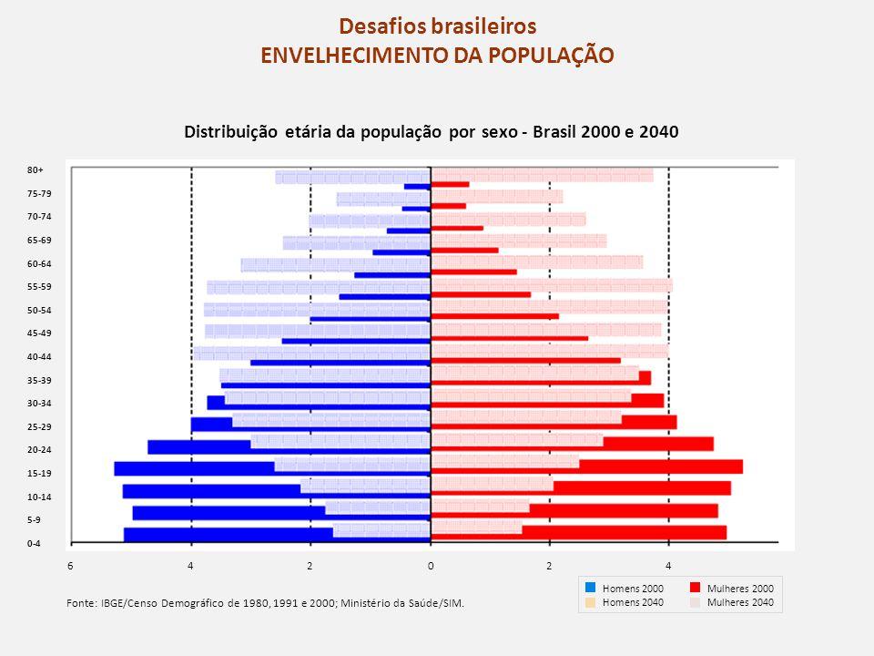 Desafios brasileiros ENVELHECIMENTO DA POPULAÇÃO 80+ 75-79 70-74 65-69 60-64 55-59 50-54 45-49 40-44 35-39 30-34 25-29 20-24 15-19 10-14 5-9 0-4 Fonte