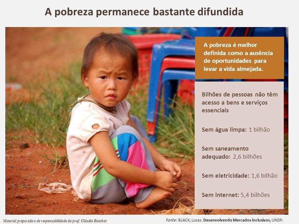 A pobreza permanece bastante difundida Fonte: BLACK, Lucas. Desenvolvendo Mercados Inclusivos, UNDP. Bilhões de pessoas não têm acesso a bens e serviç