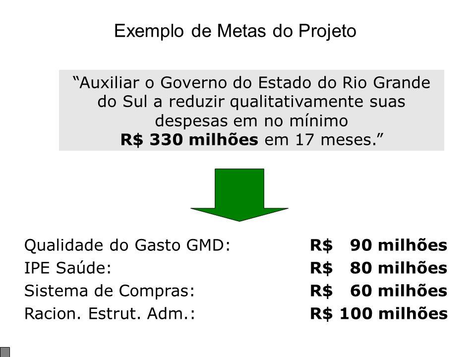 Exemplo de Metas do Projeto Auxiliar o Governo do Estado do Rio Grande do Sul a reduzir qualitativamente suas despesas em no mínimo R$ 330 milhões em