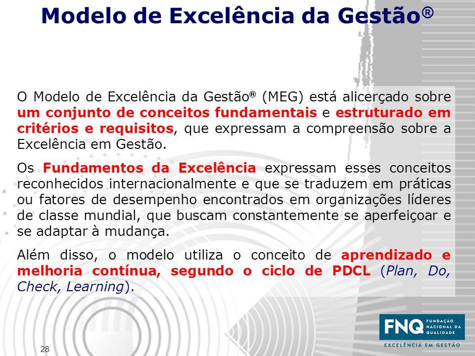 28 O Modelo de Excelência da Gestão (MEG) está alicerçado sobre um conjunto de conceitos fundamentais e estruturado em critérios e requisitos, que expressam a compreensão sobre a Excelência em Gestão.