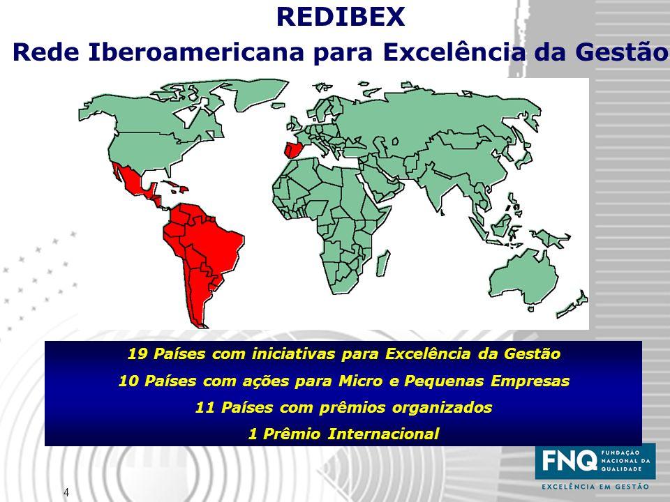 4 REDIBEX Rede Iberoamericana para Excelência da Gestão 19 Países com iniciativas para Excelência da Gestão 10 Países com ações para Micro e Pequenas Empresas 11 Países com prêmios organizados 1 Prêmio Internacional