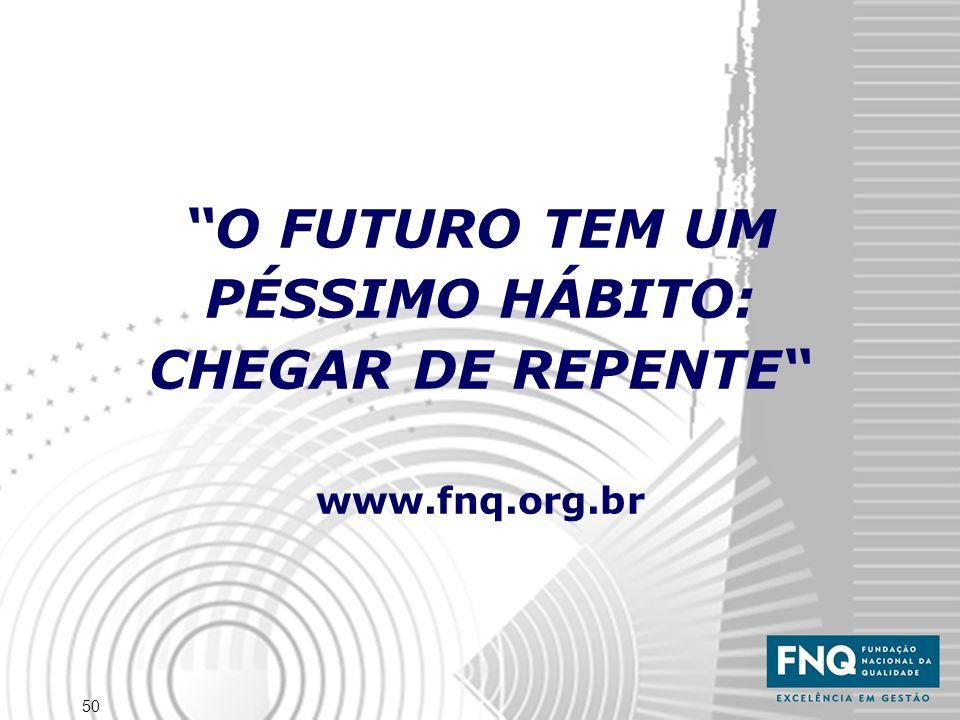 50 O FUTURO TEM UM PÉSSIMO HÁBITO: CHEGAR DE REPENTE www.fnq.org.br