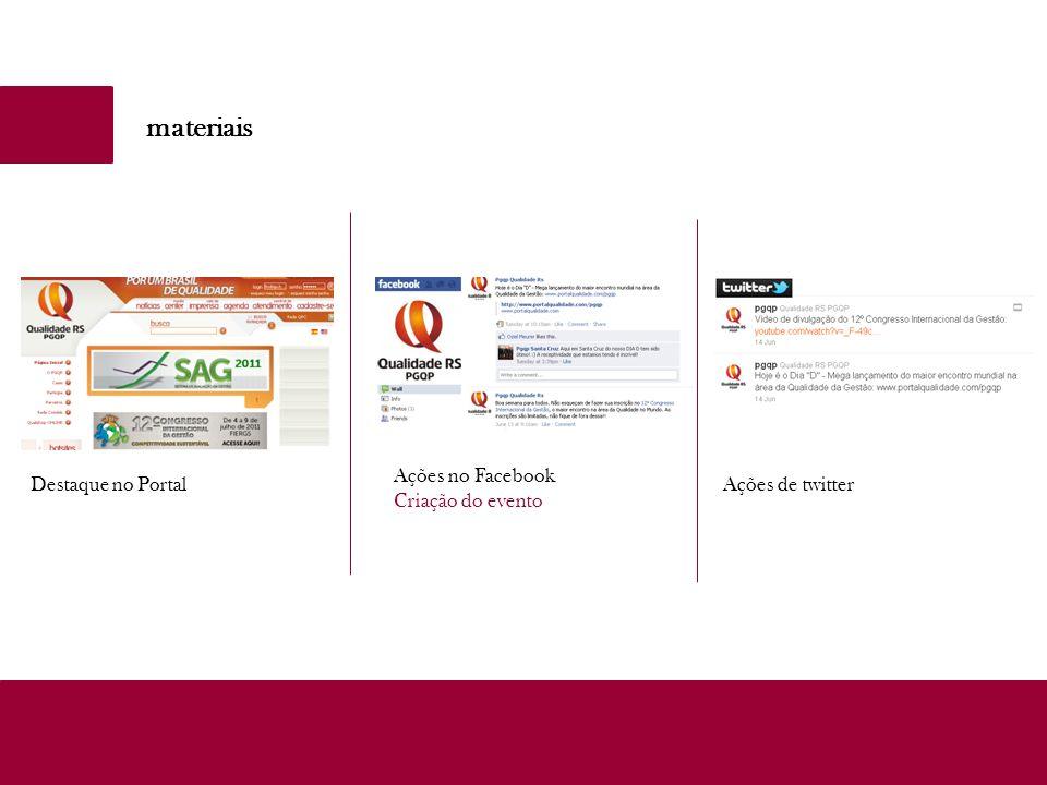 materiais Ações no Facebook Criação do evento Ações de twitterDestaque no Portal