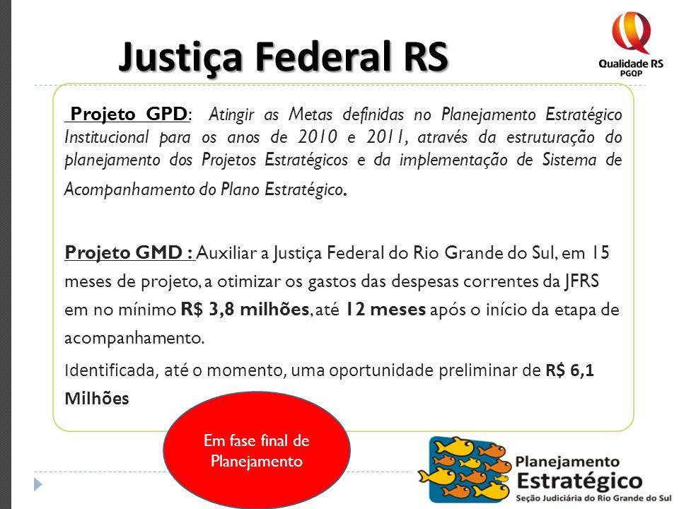 Justiça Federal RS Projeto GPD: Atingir as Metas definidas no Planejamento Estratégico Institucional para os anos de 2010 e 2011, através da estrutura