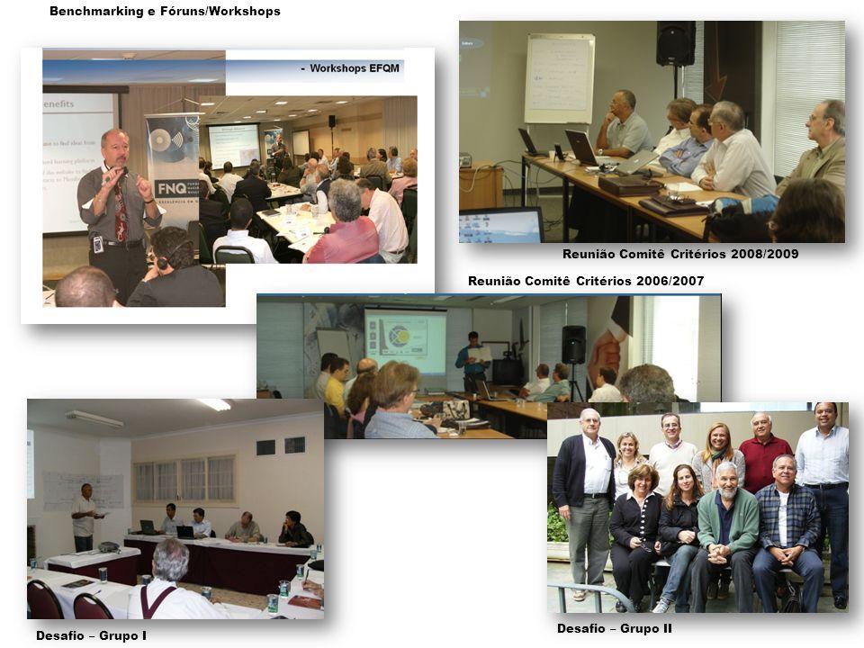 Reunião Comitê Critérios 2006/2007 Desafio – Grupo II Reunião Comitê Critérios 2008/2009 Benchmarking e Fóruns/Workshops Desafio – Grupo I