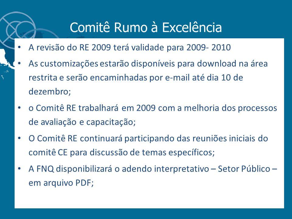 Comitê Rumo à Excelência A revisão do RE 2009 terá validade para 2009- 2010 As customizações estarão disponíveis para download na área restrita e serã