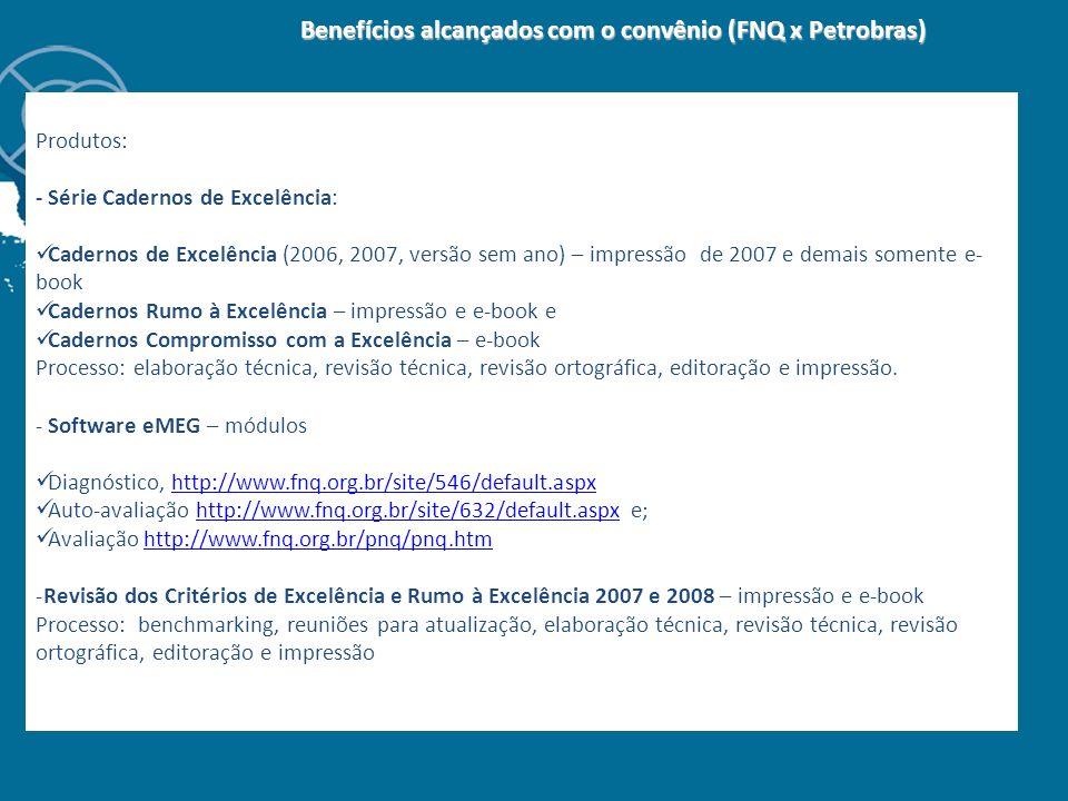 Benefícios alcançados com o convênio (FNQ x Petrobras) Benefícios alcançados com o convênio (FNQ x Petrobras) Produtos: - Série Cadernos de Excelência