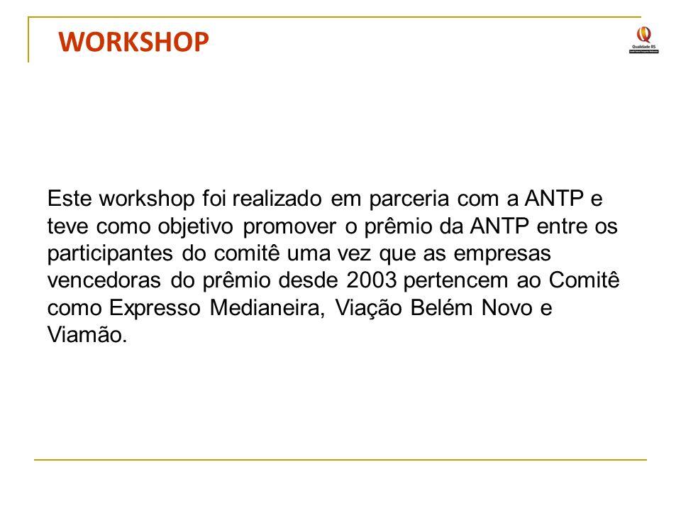 WORKSHOP Este workshop foi realizado em parceria com a ANTP e teve como objetivo promover o prêmio da ANTP entre os participantes do comitê uma vez qu