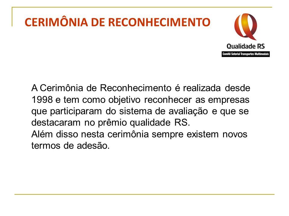 CERIMÔNIA DE RECONHECIMENTO A Cerimônia de Reconhecimento é realizada desde 1998 e tem como objetivo reconhecer as empresas que participaram do sistem
