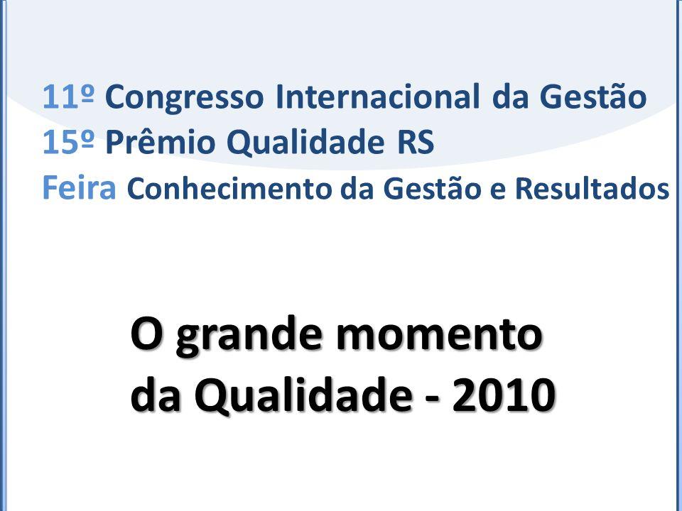 11º Congresso Internacional da Gestão 15º Prêmio Qualidade RS Feira Conhecimento da Gestão e Resultados O grande momento da Qualidade - 2010