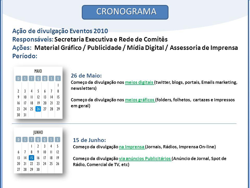 CRONOGRAMA Ação de divulgação Eventos 2010 Responsáveis: Secretaria Executiva e Rede de Comitês Ações: Material Gráfico / Publicidade / Mídia Digital