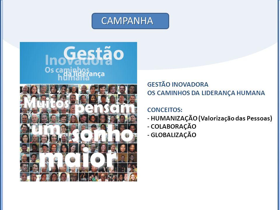 CAMPANHA GESTÃO INOVADORA OS CAMINHOS DA LIDERANÇA HUMANA CONCEITOS: - HUMANIZAÇÃO (Valorização das Pessoas) - COLABORAÇÃO - GLOBALIZAÇÃO