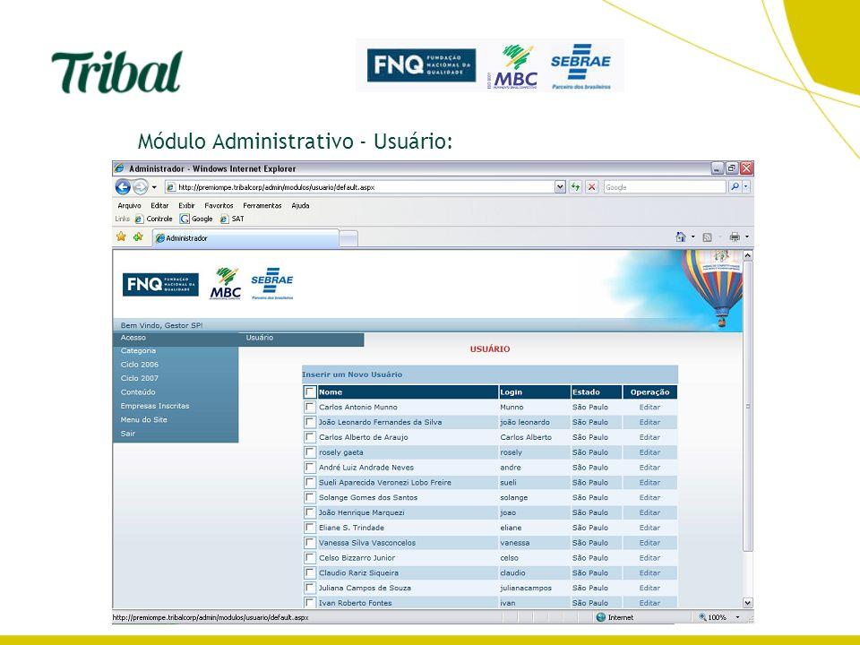 Módulo Administrativo - Usuário: