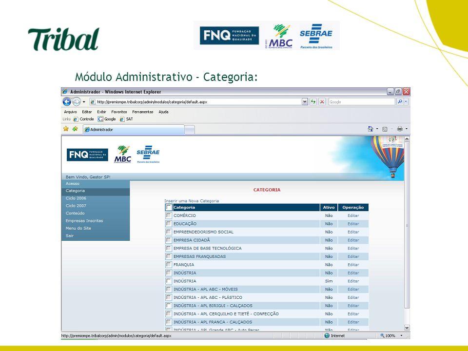 Módulo Administrativo - Categoria: