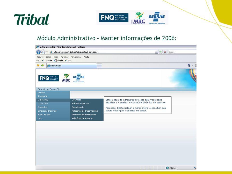 Módulo Administrativo – Manter informações de 2006: