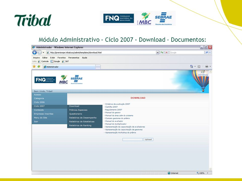 Módulo Administrativo – Ciclo 2007 – Download - Documentos: