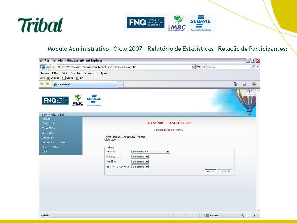 Módulo Administrativo – Ciclo 2007 – Relatório de Estatísticas – Relação de Participantes: