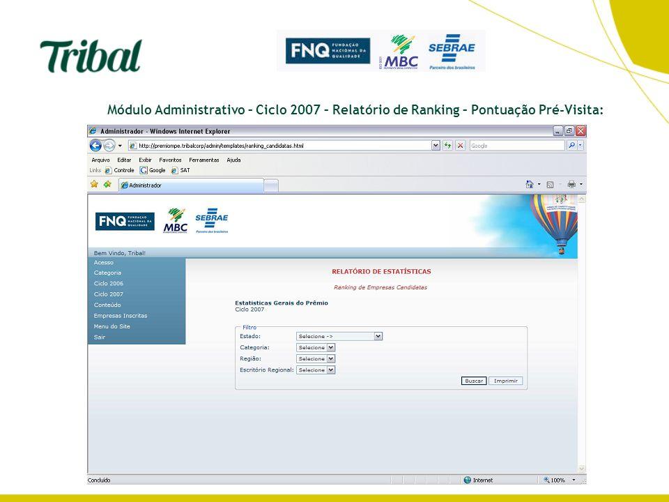 Módulo Administrativo – Ciclo 2007 – Relatório de Ranking – Pontuação Pré-Visita: