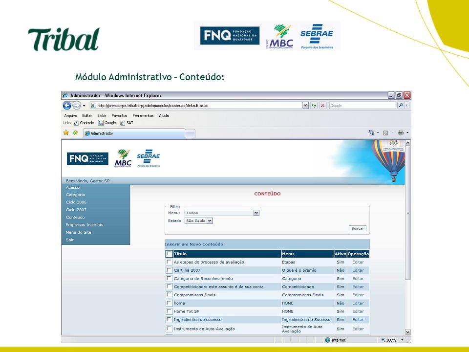 Módulo Administrativo – Conteúdo: