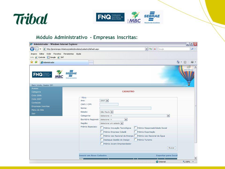 Módulo Administrativo – Empresas Inscritas: