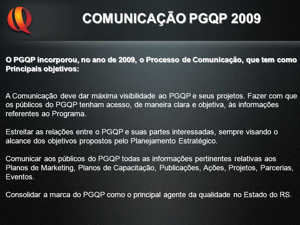 COMUNICAÇÃO PGQP 2009 O PGQP incorporou, no ano de 2009, o Processo de Comunicação, que tem como Principais objetivos: A Comunicação deve dar máxima v
