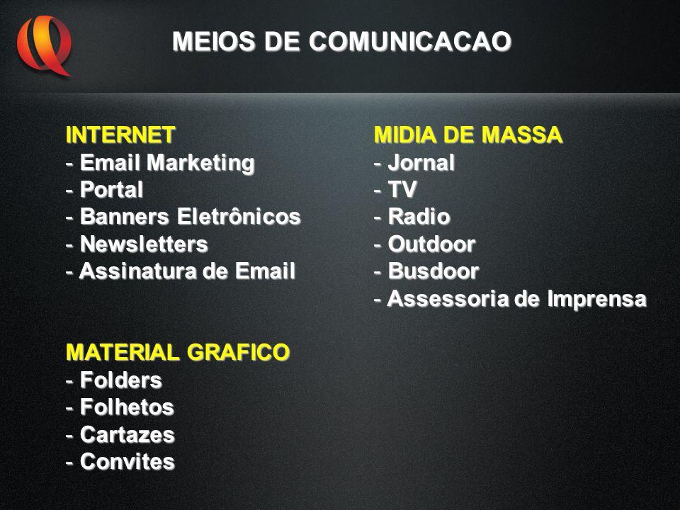 MEIOS DE COMUNICACAO INTERNET - Email Marketing - Portal - Banners Eletrônicos - Newsletters - Assinatura de Email MATERIAL GRAFICO - Folders - Folhet