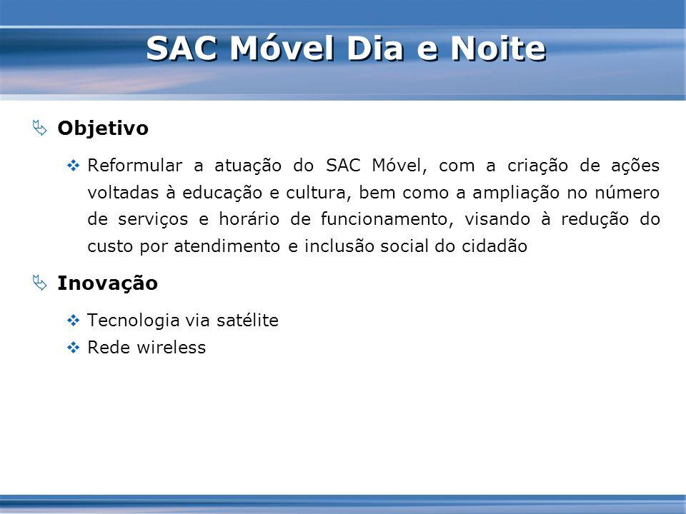 SAC Móvel Dia e Noite Objetivo Reformular a atuação do SAC Móvel, com a criação de ações voltadas à educação e cultura, bem como a ampliação no número