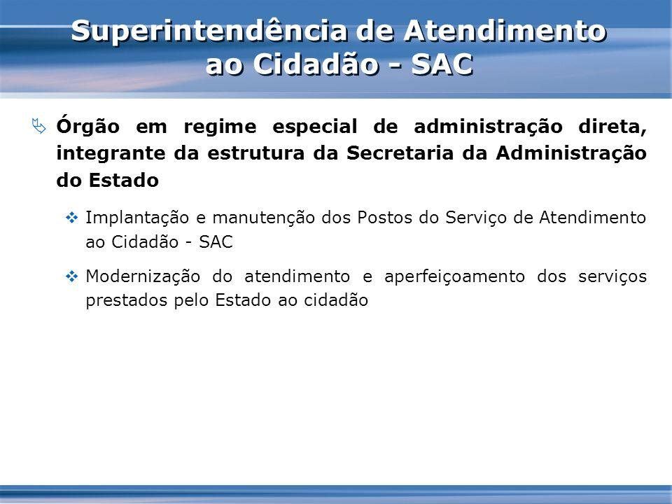 Superintendência de Atendimento ao Cidadão - SAC Órgão em regime especial de administração direta, integrante da estrutura da Secretaria da Administra