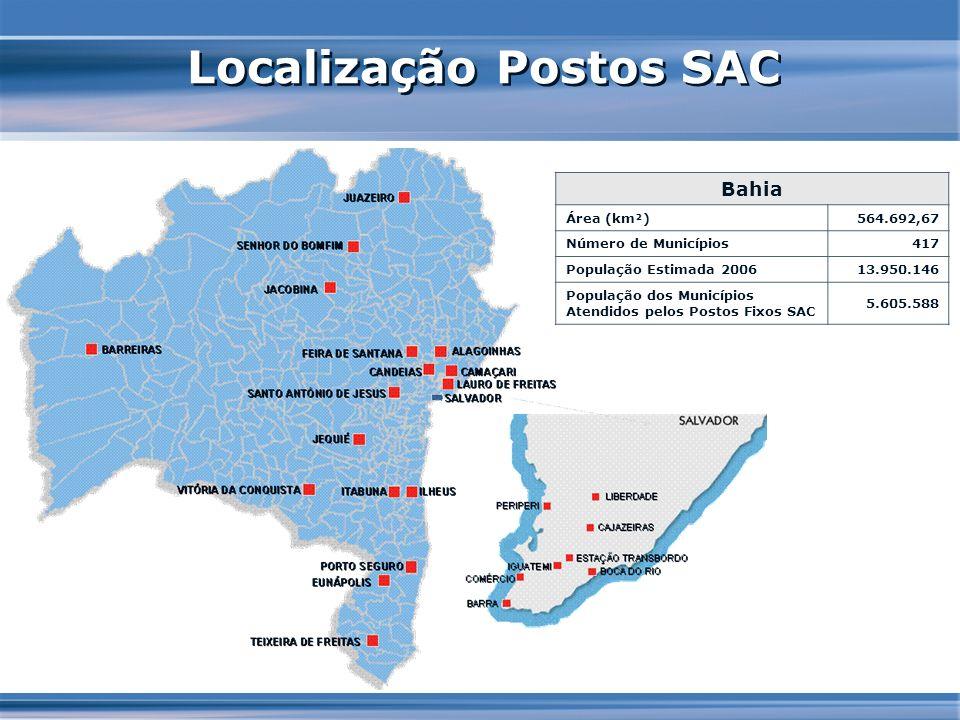 Localização Postos SAC Bahia Área (km²)564.692,67 Número de Municípios417 População Estimada 200613.950.146 População dos Municípios Atendidos pelos P