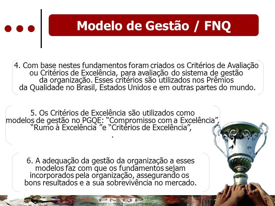 Modelo de Gestão / FNQ 4. Com base nestes fundamentos foram criados os Critérios de Avaliação ou Critérios de Excelência, para avaliação do sistema de