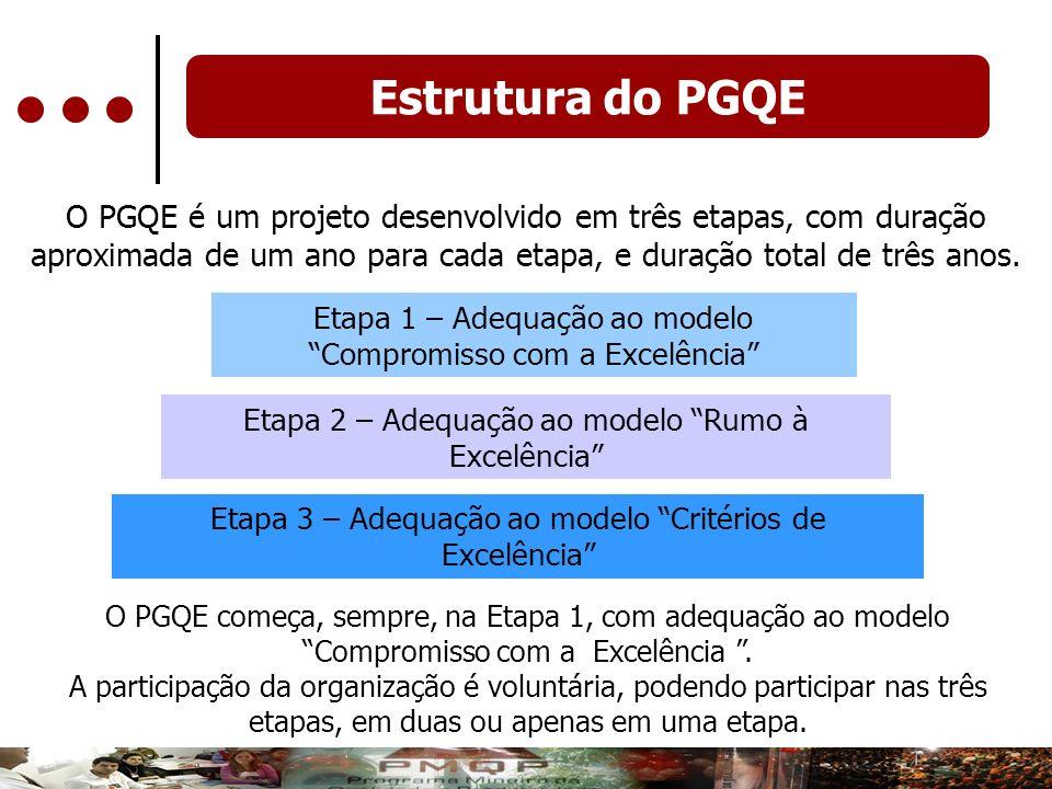 O PGQE é um projeto desenvolvido em três etapas, com duração aproximada de um ano para cada etapa, e duração total de três anos. Etapa 1 – Adequação a