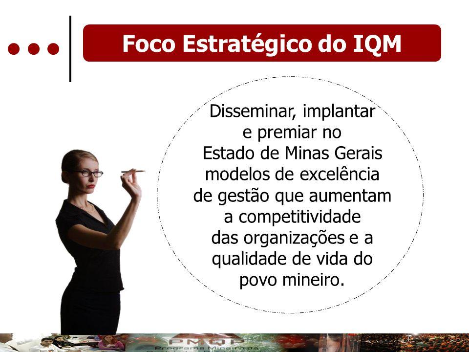 Foco Estratégico do IQM Disseminar, implantar e premiar no Estado de Minas Gerais modelos de excelência de gestão que aumentam a competitividade das o