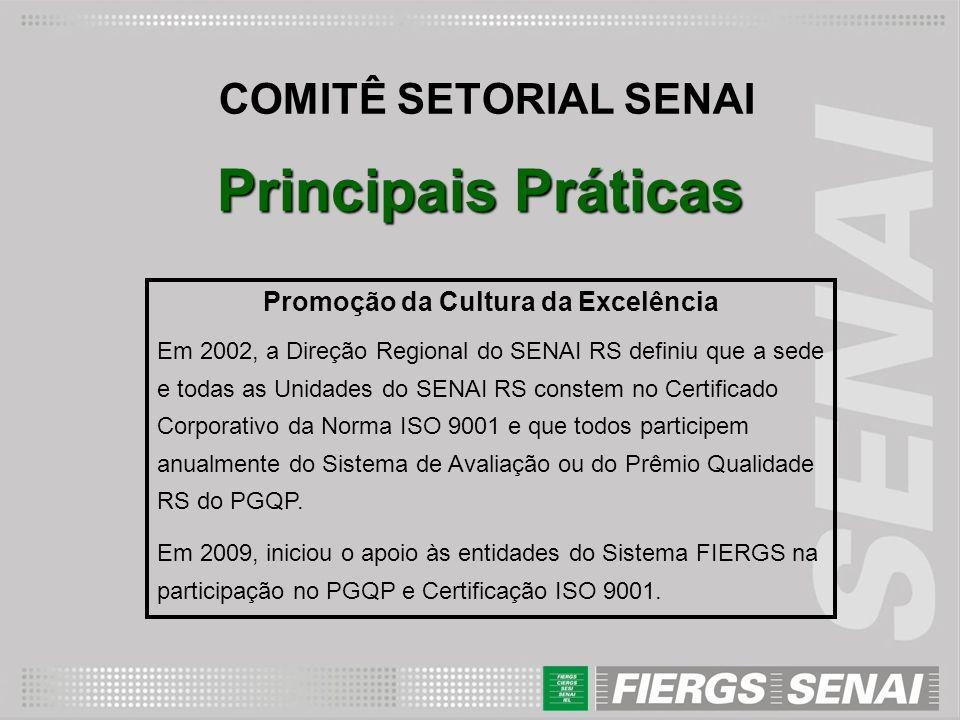 COMITÊ SETORIAL SENAI Principais Práticas Promoção da Cultura da Excelência Em 2002, a Direção Regional do SENAI RS definiu que a sede e todas as Unid