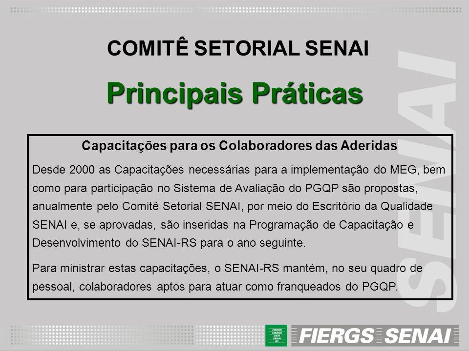 COMITÊ SETORIAL SENAI Principais Práticas Capacitações para os Colaboradores das Aderidas Desde 2000 as Capacitações necessárias para a implementação